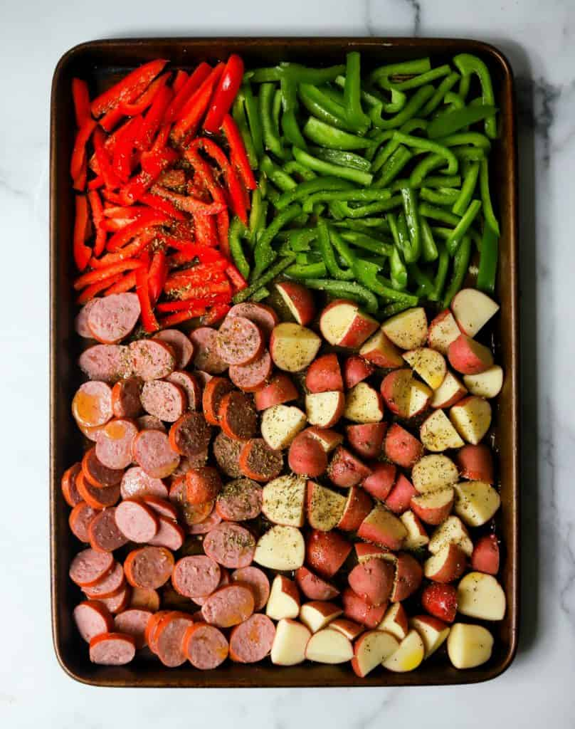 Sausage, potatoes and bell peppers on a sheet pan