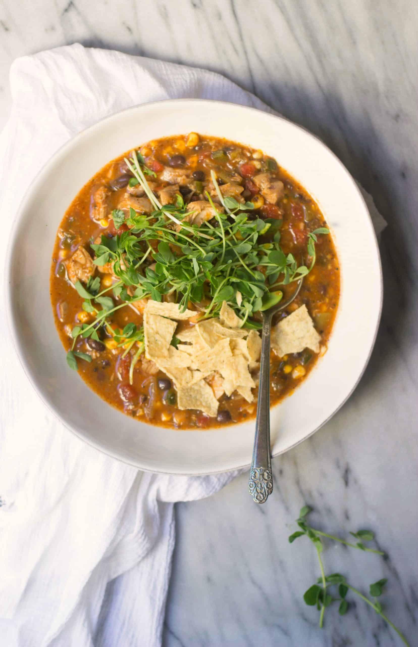 Chicken, Pobllano and Sweet Corn Soup