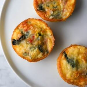 Three sous vide egg bites on a plate