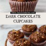 Dark chocolate cupcakes on white marble