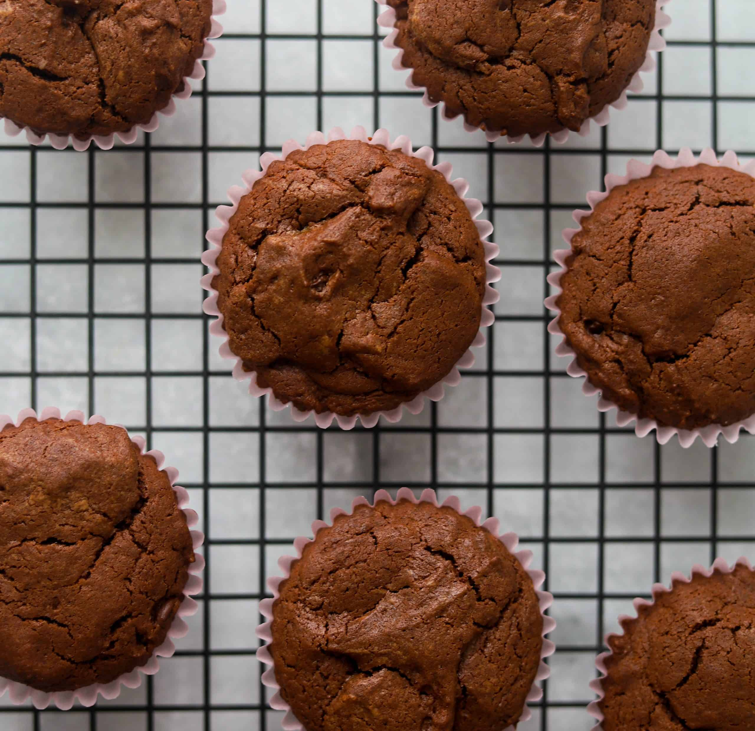 Dark chocolate cupcakes unfrosted